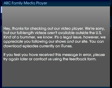 ABC - video not available for you message