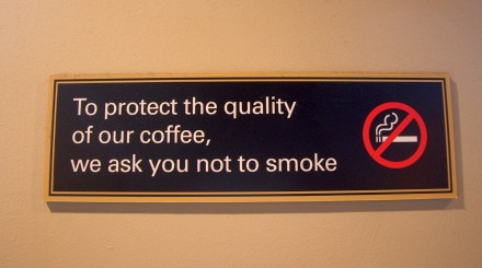 No-smoking sign in a Starbucks cafe in London