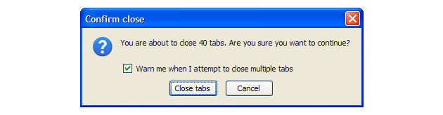 Firefox close all tabs warning