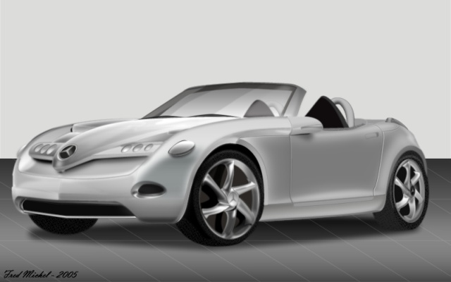 Mercedes SLA, drawn in Adobe Fireworks