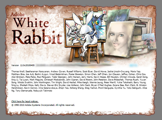 Photoshop CS5 White Rabbit - the unofficial splash screen